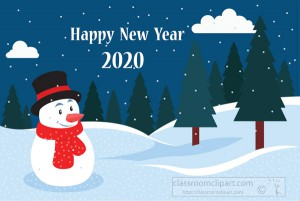 happy new year 2020 snowman in the snow